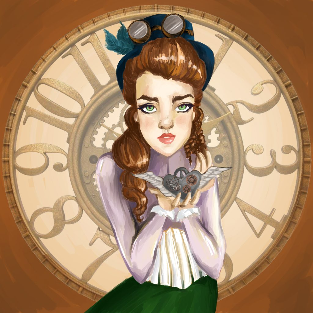 A painting of a woman holding a mechanical heart brooch in front of a clock.