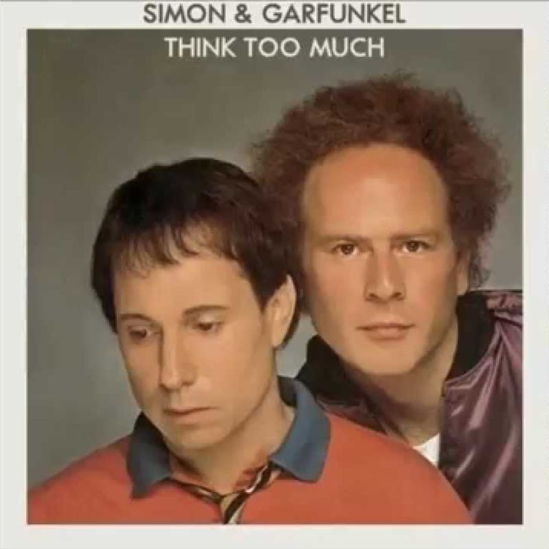 An album cover for the proposed Simon and Garfunkel reunion album Think Too Much.